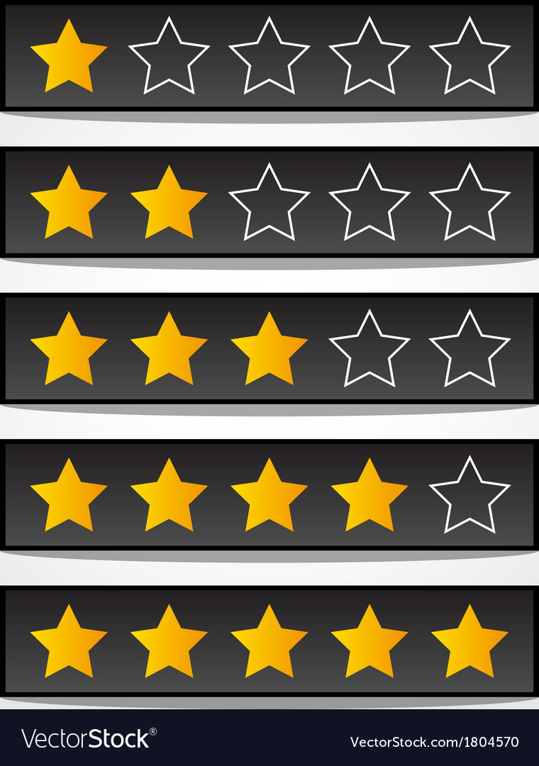 Set of black rating stars vector | Price: 1 Credit (USD $1)