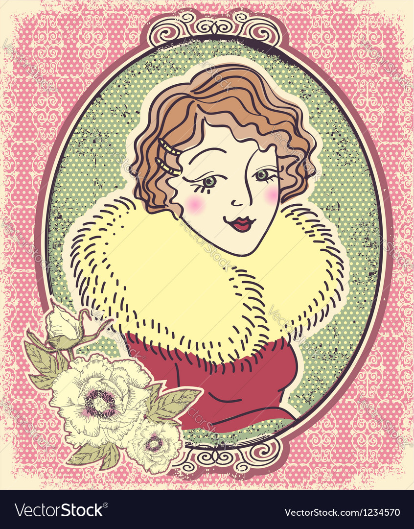 Vintage woman portrait with flowers and romantic vector