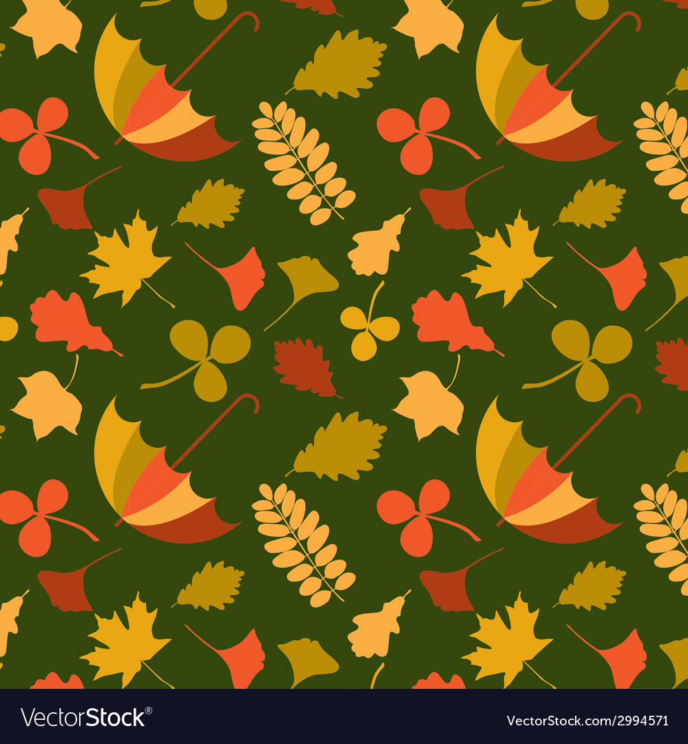 Autumn seamless pattern with seasonal leafs and vector | Price: 1 Credit (USD $1)