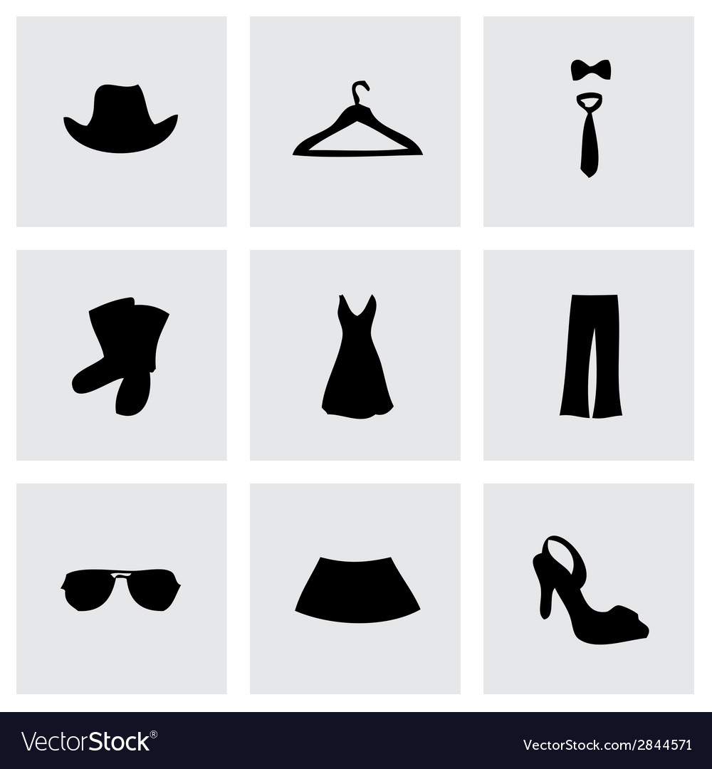 Black clothes icons set vector | Price: 1 Credit (USD $1)