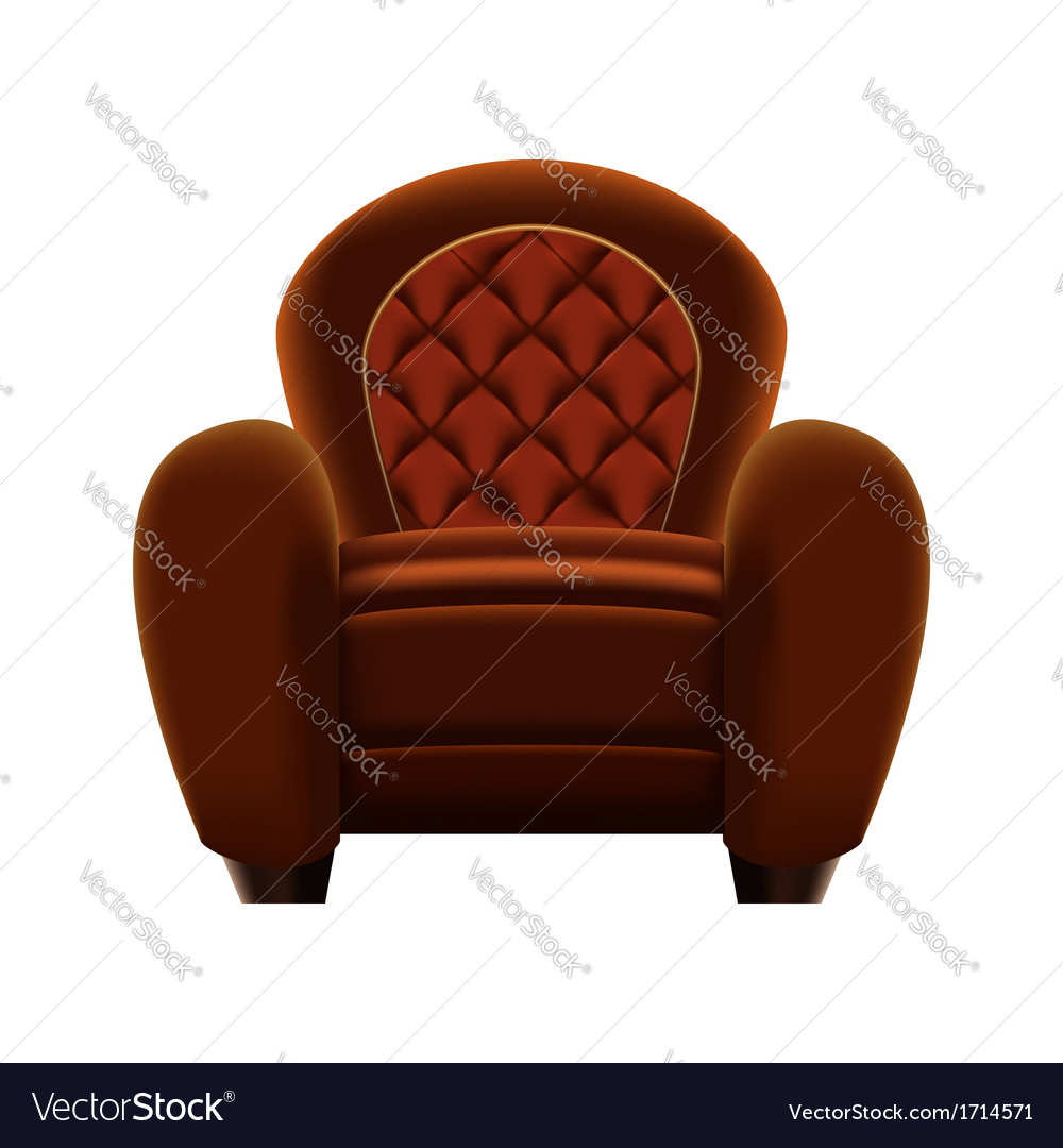 Brown armchair on white background vector | Price: 1 Credit (USD $1)