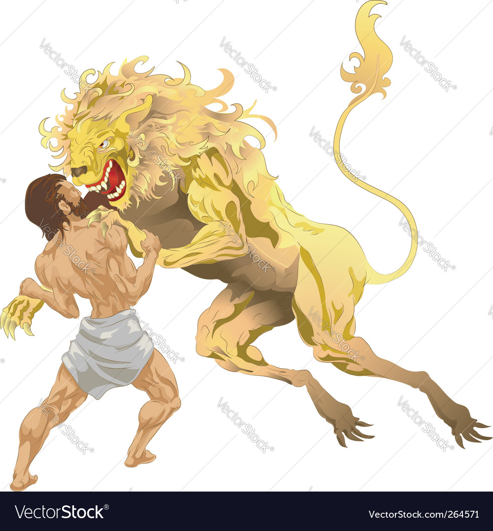Hercules and the lion vector | Price: 1 Credit (USD $1)