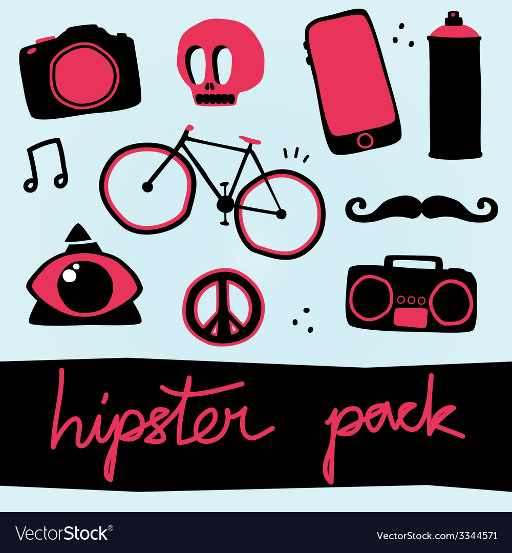 Hipster objects set vector | Price: 1 Credit (USD $1)