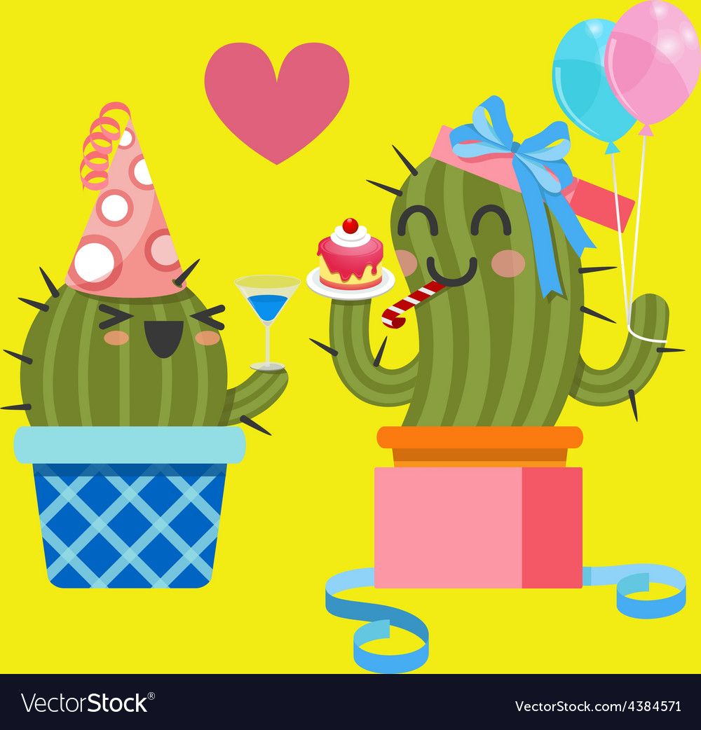 Loving couple of cactus at birthday party vector | Price: 1 Credit (USD $1)