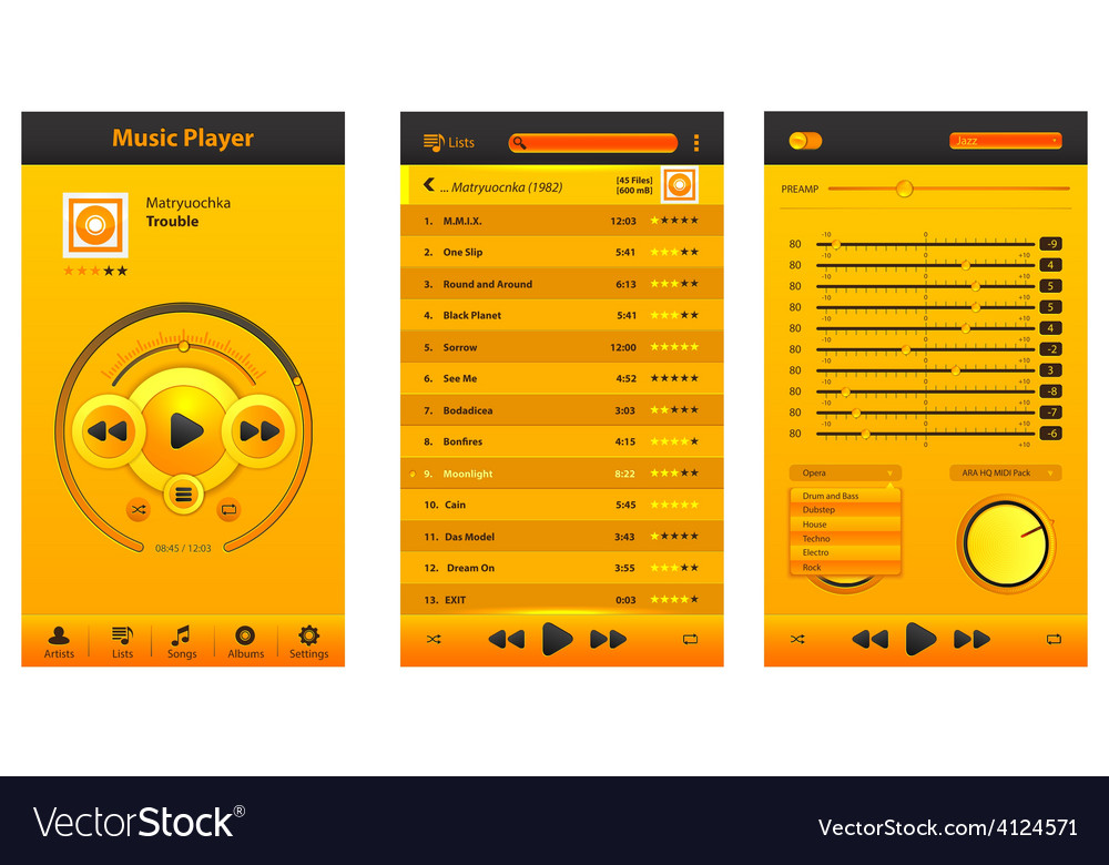 Musical yellow player vector | Price: 3 Credit (USD $3)
