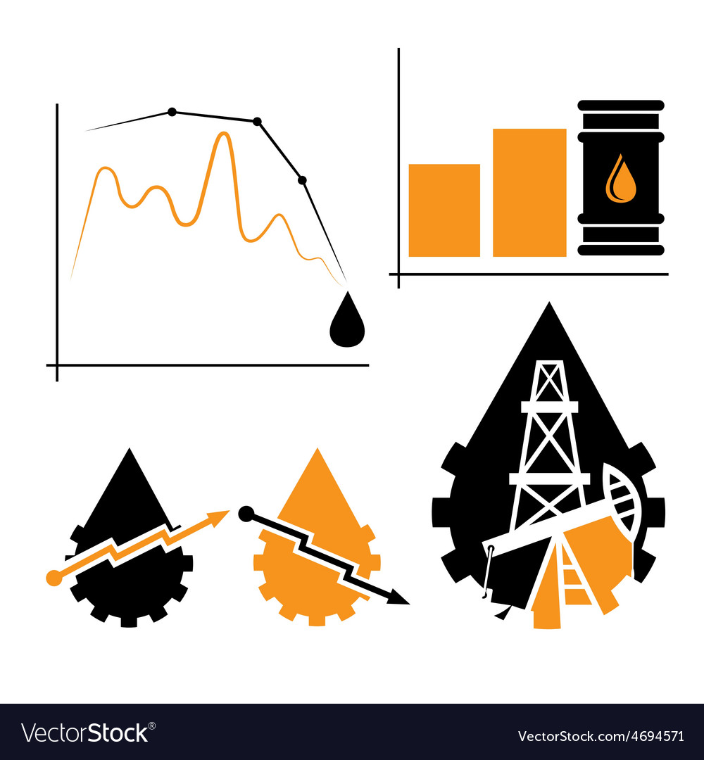 Oil industry elements and diagram fall and rise of vector | Price: 1 Credit (USD $1)