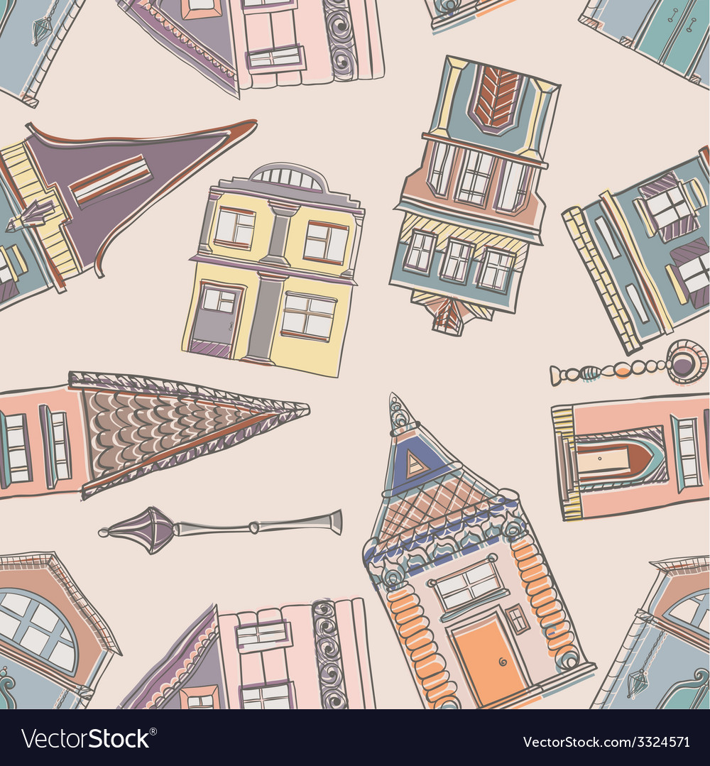 Old houses pattern vector | Price: 1 Credit (USD $1)