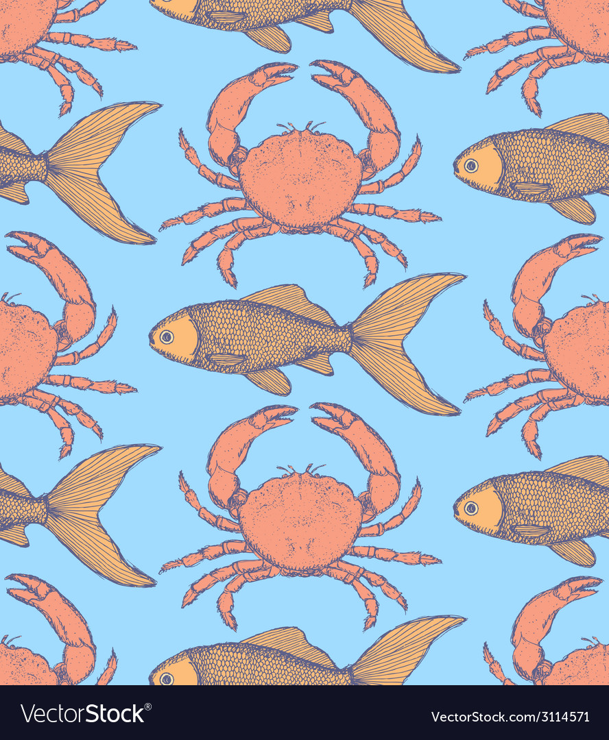 Sketch cute crab and fish in vintage style vector | Price: 1 Credit (USD $1)