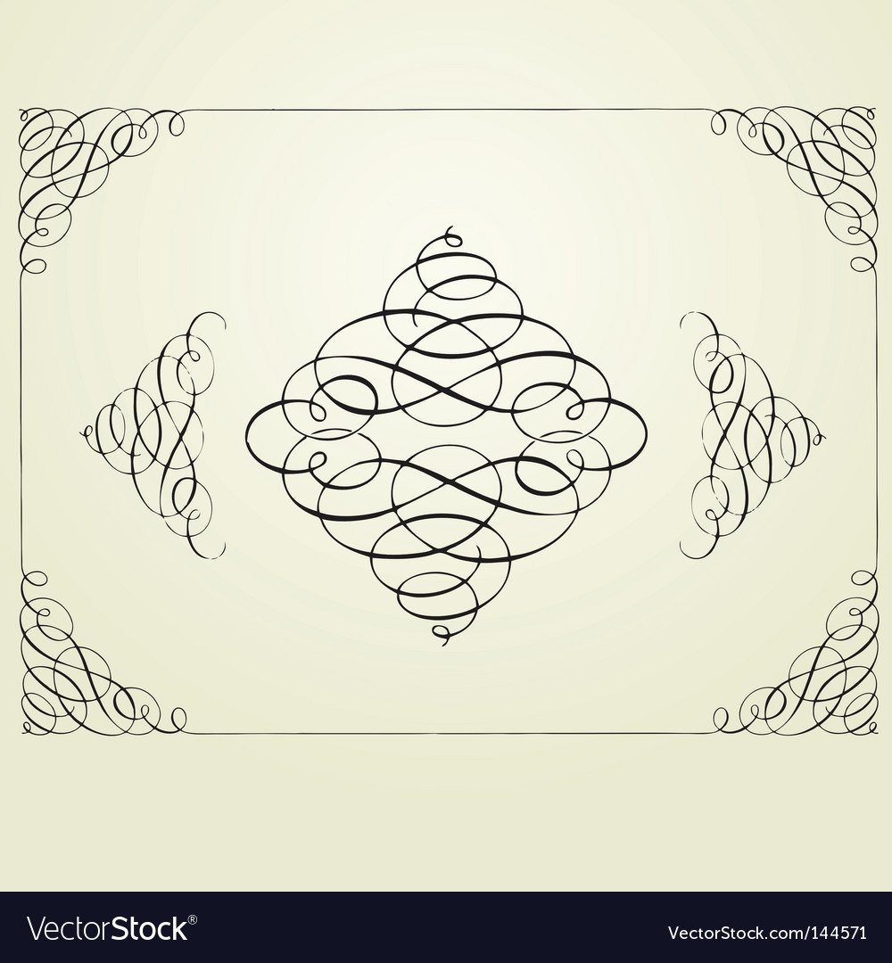 Swirl frame and elements vector | Price: 1 Credit (USD $1)