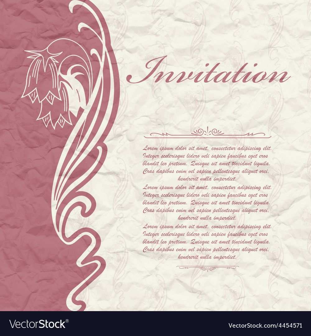 Vintage background for the invitation with flowers vector | Price: 1 Credit (USD $1)