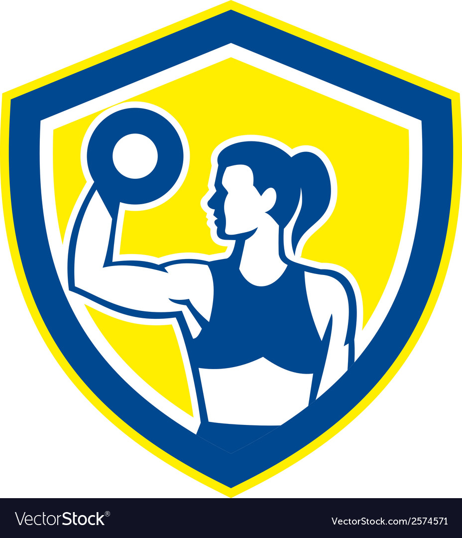 Woman lifting dumbbell weight side view retro vector   Price: 1 Credit (USD $1)