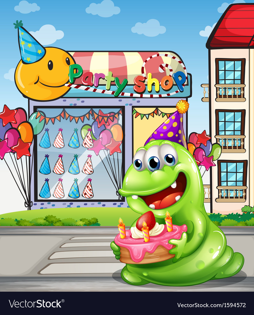 A monster with a cake standing at the pedestrian vector   Price: 3 Credit (USD $3)