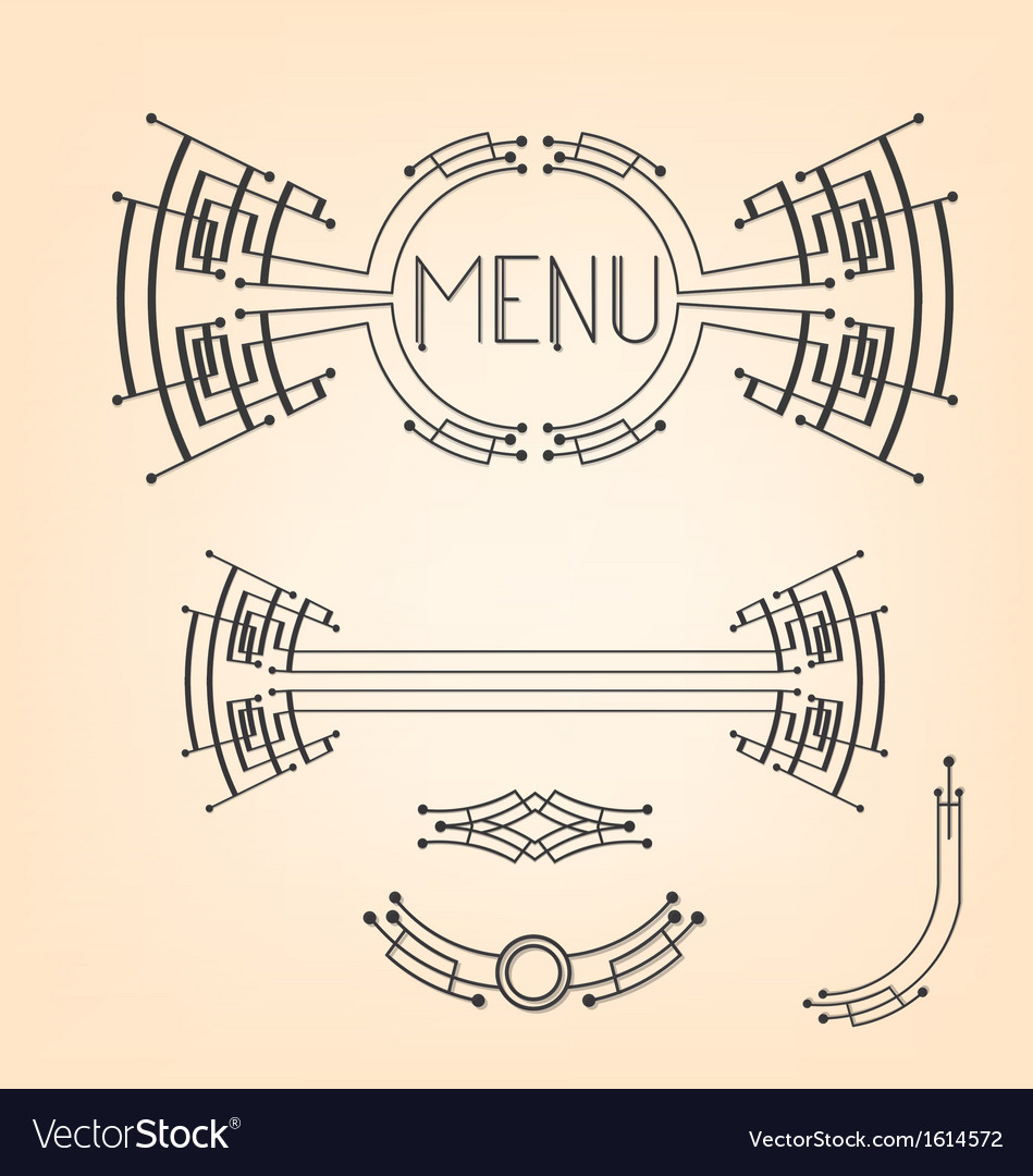 Art deco stylized menu decoration set vector | Price: 1 Credit (USD $1)