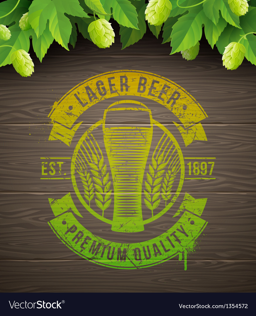 Beer emblem and ripe hops vector | Price: 3 Credit (USD $3)