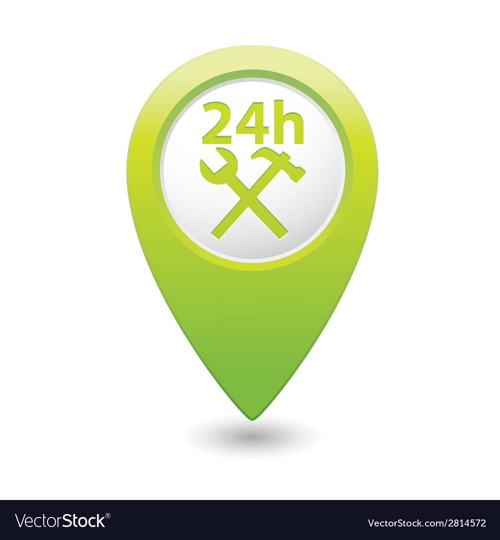 Car service 24h icon on green pointer vector | Price: 1 Credit (USD $1)
