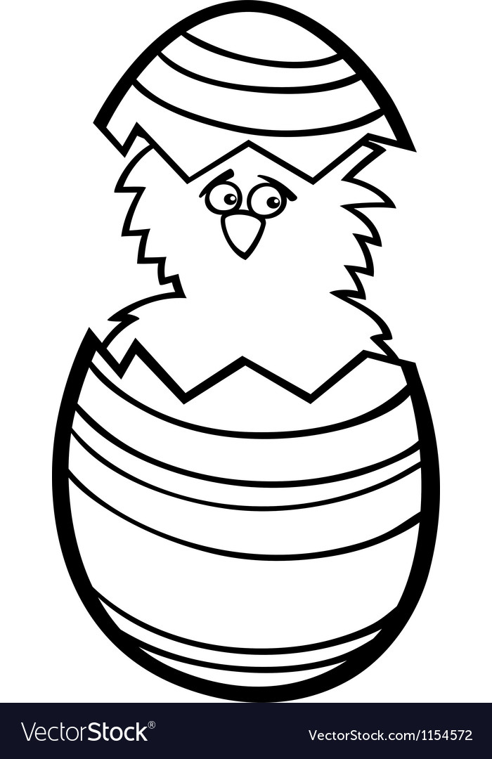 Chicken in easter egg cartoon for coloring vector | Price: 1 Credit (USD $1)