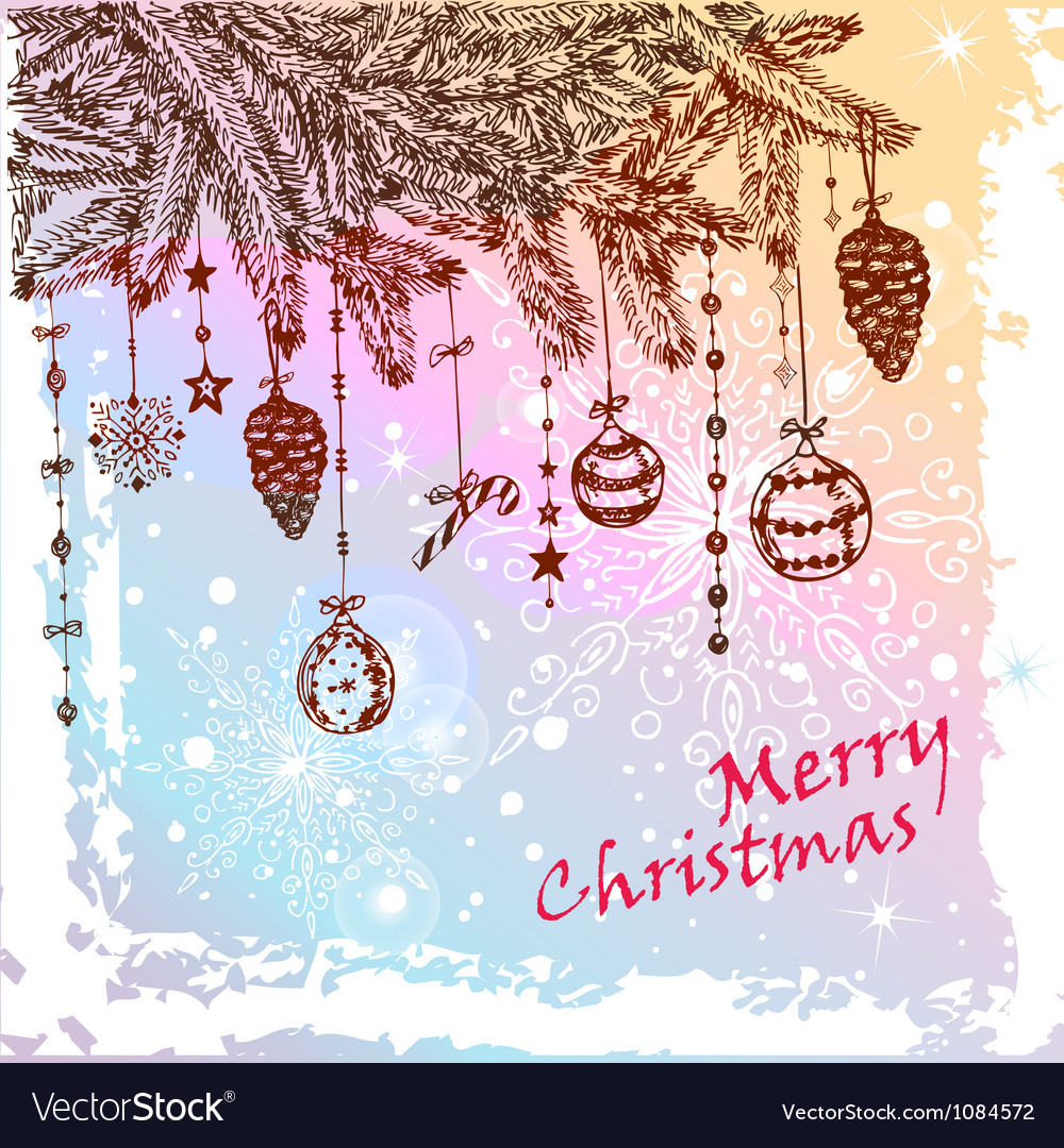 Christmas hand drawn card vector | Price: 1 Credit (USD $1)