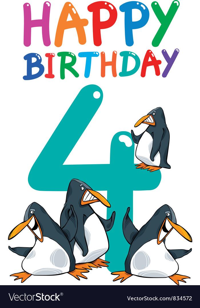 Fourth birthday anniversary card vector | Price: 3 Credit (USD $3)