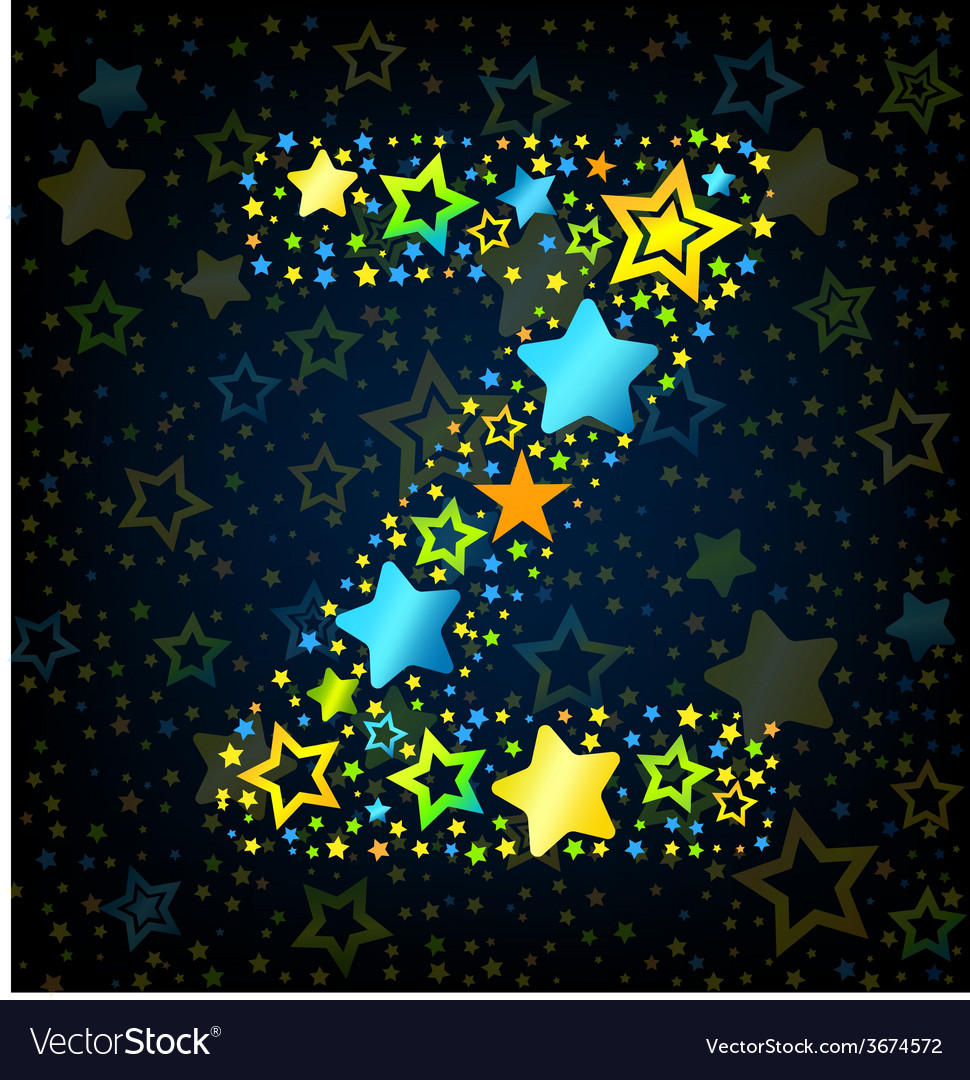 Letter z cartoon star colored vector | Price: 1 Credit (USD $1)