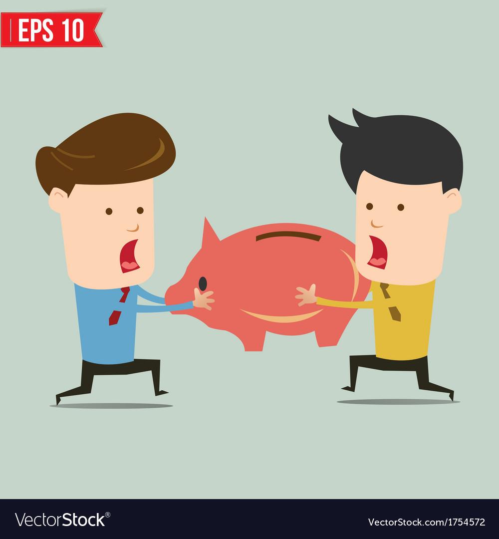 Man snatch piggy bank - - eps10 vector | Price: 1 Credit (USD $1)