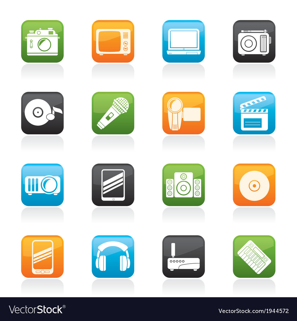 Media and technology icons vector | Price: 1 Credit (USD $1)