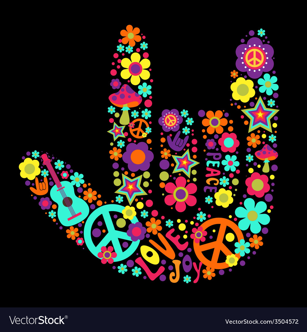 Psychedelic hand sign vector | Price: 1 Credit (USD $1)