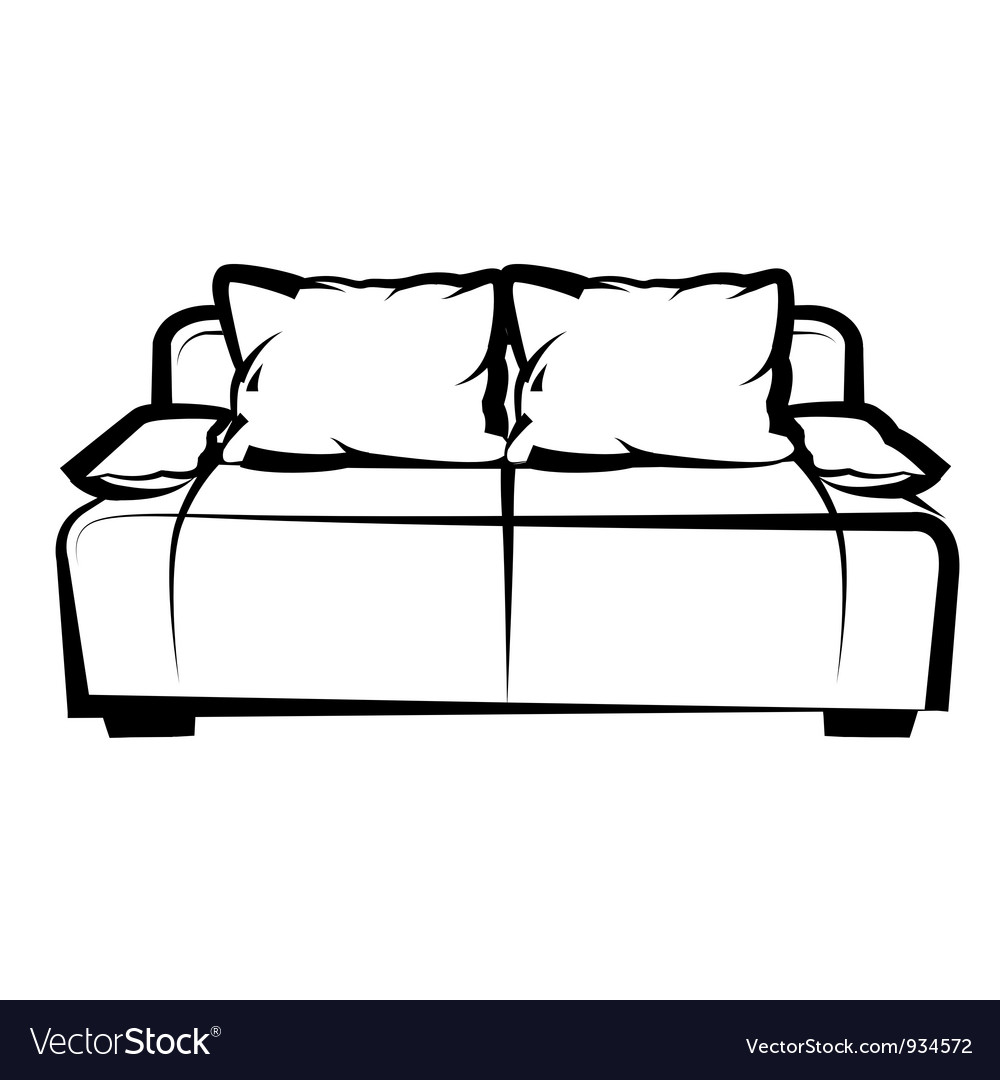 Sofa freehand drawing icon black and white vector | Price: 1 Credit (USD $1)