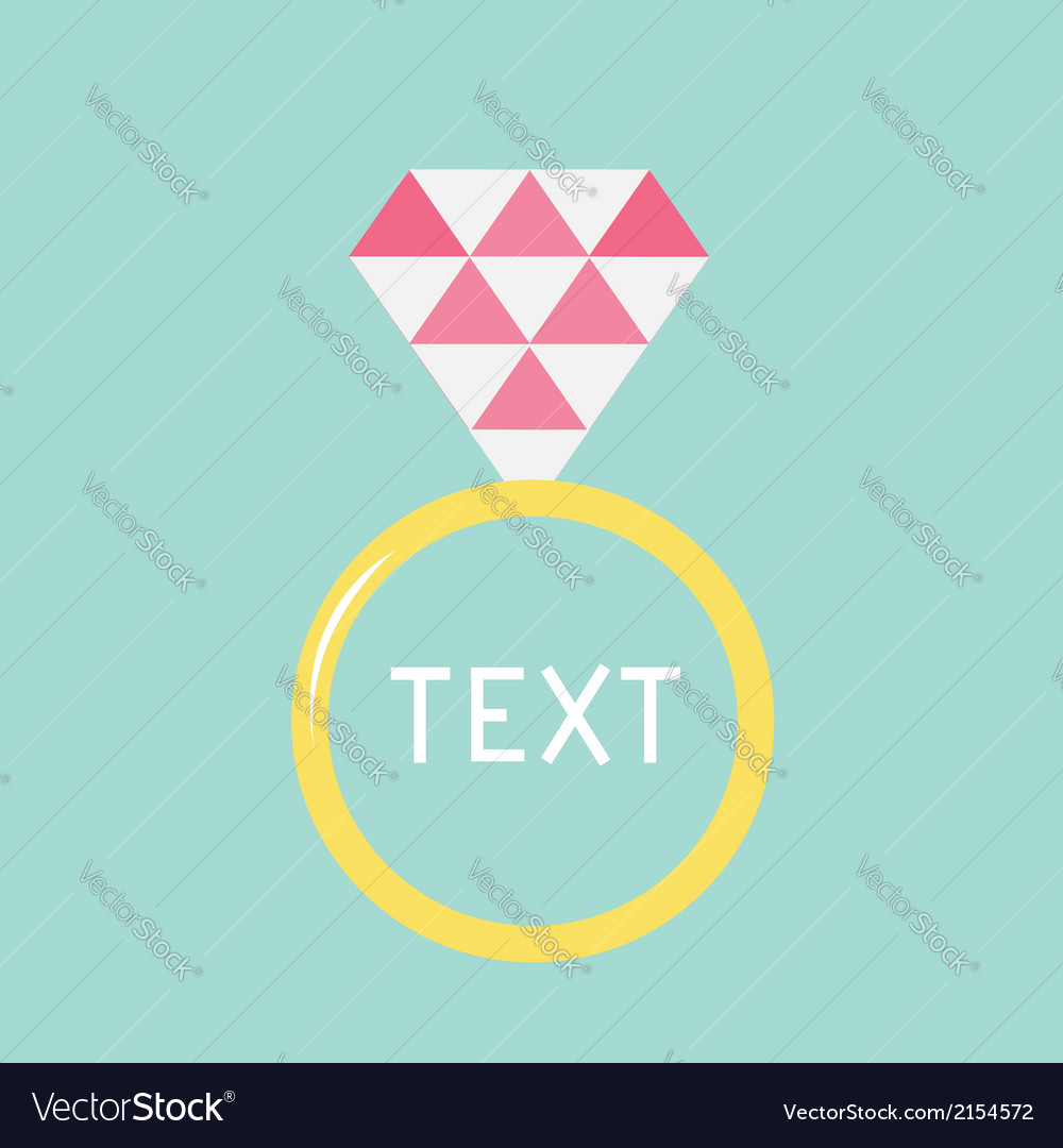 Wedding gold ring with pink diamond flat design vector | Price: 1 Credit (USD $1)