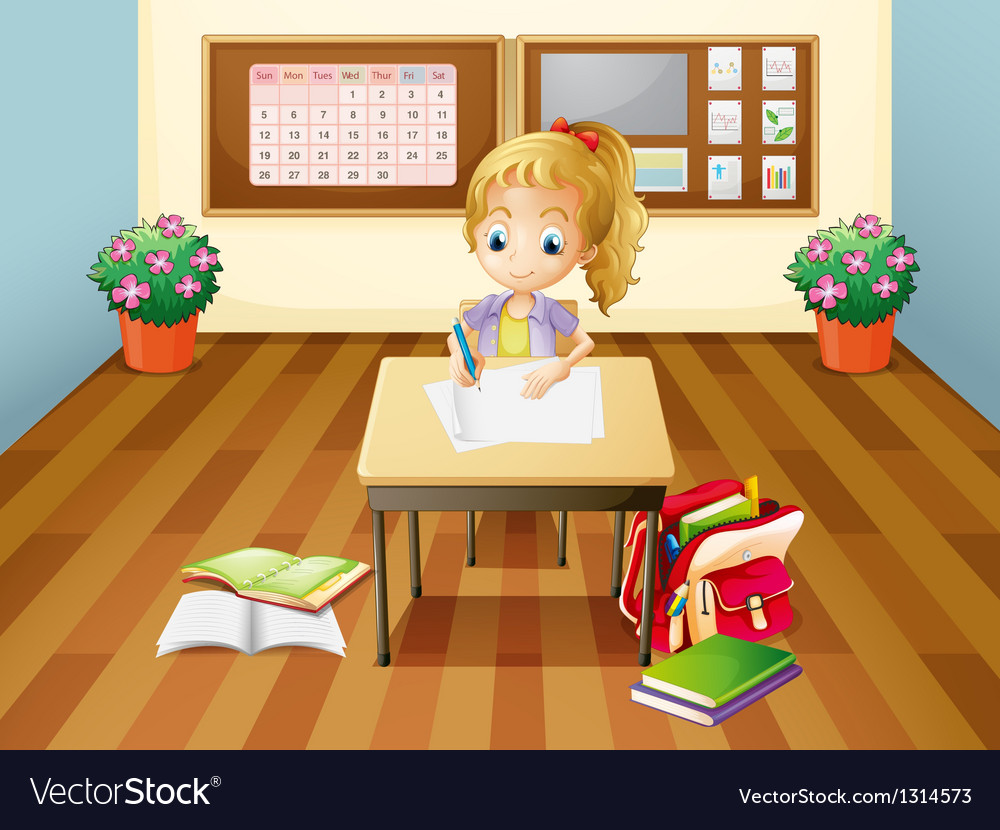 A girl at the desk vector | Price: 1 Credit (USD $1)
