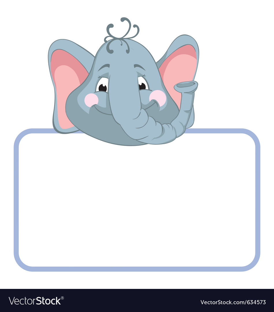 Baby elephant cartoon label vector | Price: 1 Credit (USD $1)