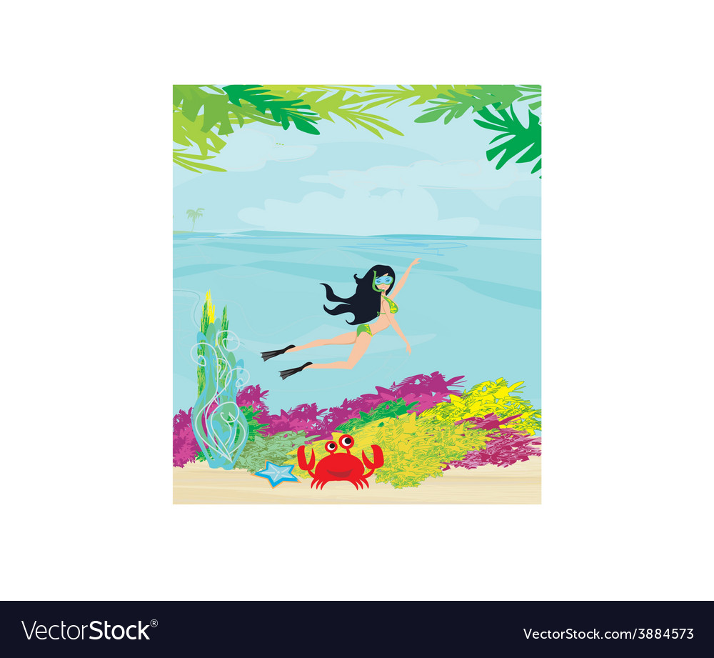 Beautiful girl dives vector | Price: 1 Credit (USD $1)