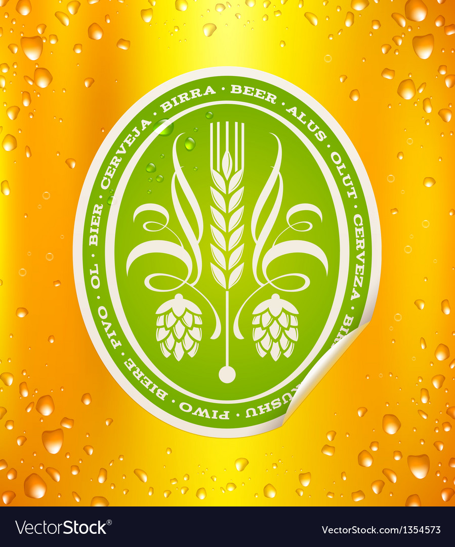 Beer label on beer background with drops vector | Price: 1 Credit (USD $1)