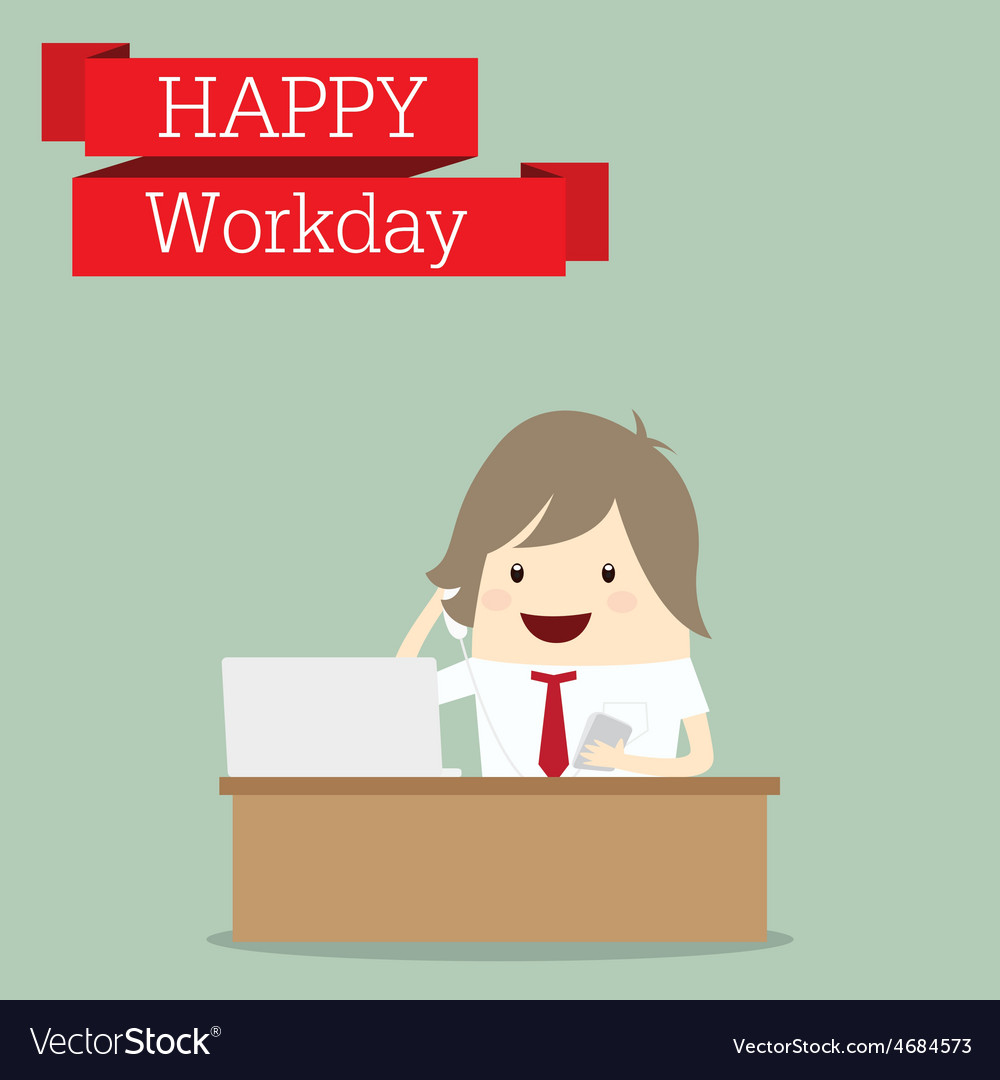 Businessman is happy at the workday call center vector | Price: 1 Credit (USD $1)