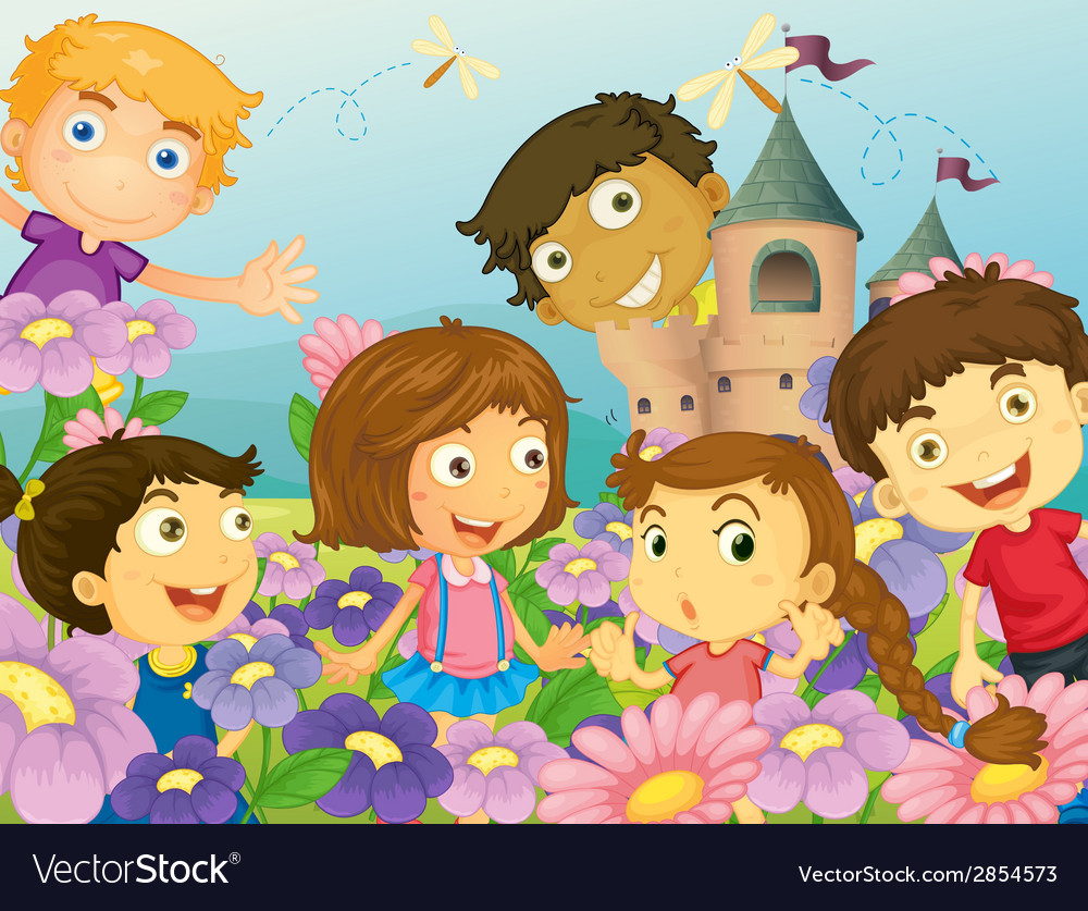 Children and flowers vector | Price: 1 Credit (USD $1)