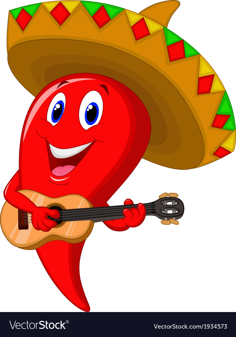 Chili pepper mariachi cartoon wearing sombrero pla vector | Price: 1 Credit (USD $1)