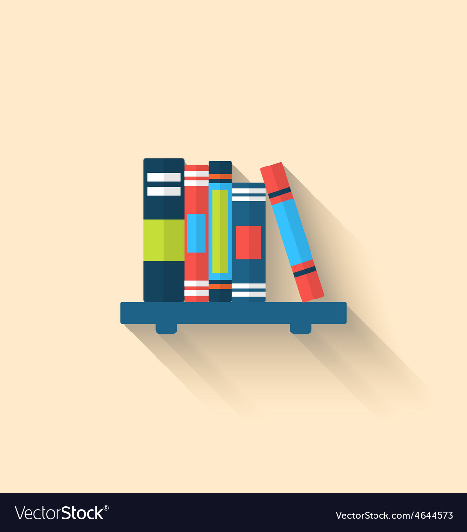 Colorful different books on the shelf with long vector   Price: 1 Credit (USD $1)
