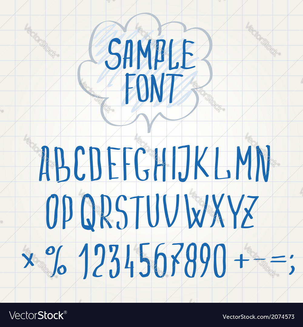 Hand font alphabet sketch vector | Price: 1 Credit (USD $1)