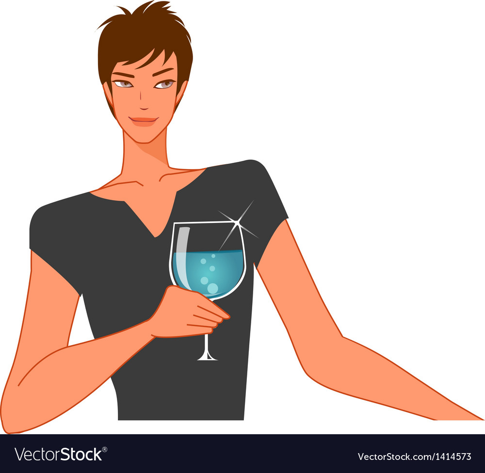 Man with wineglass vector | Price: 1 Credit (USD $1)