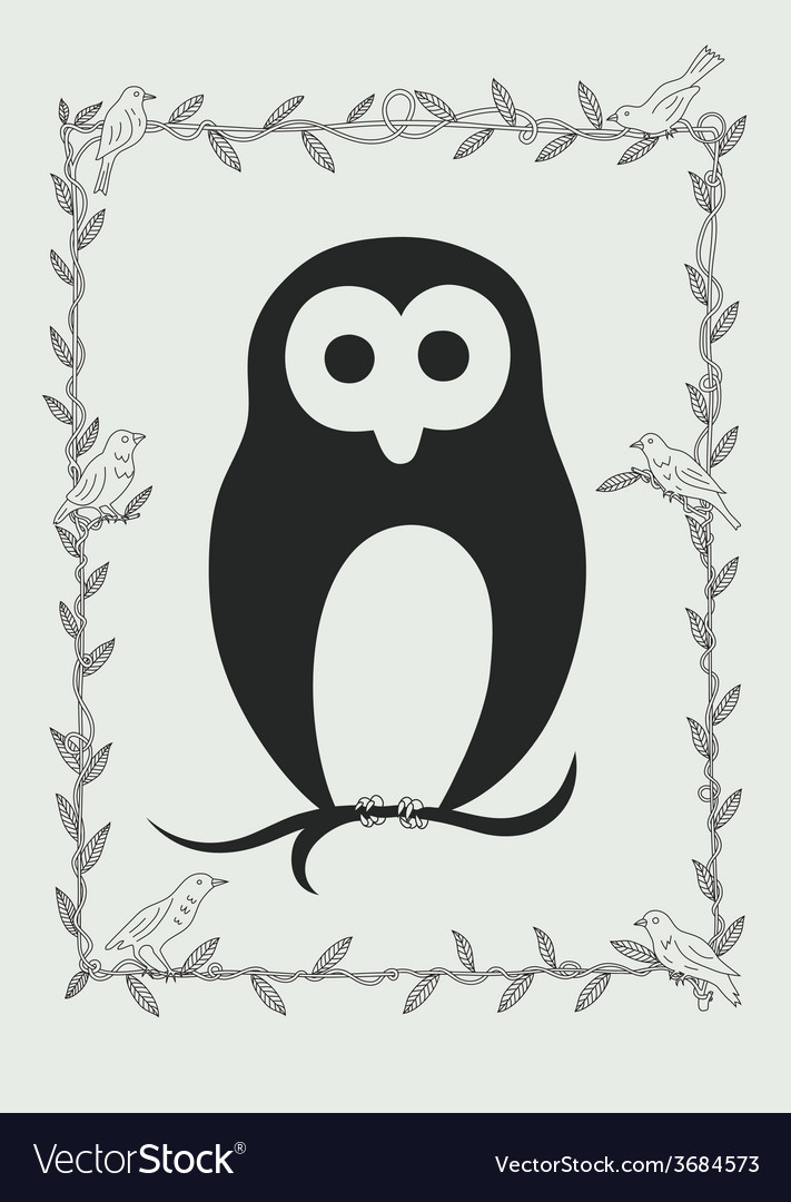 Owl bird in frame vector | Price: 1 Credit (USD $1)