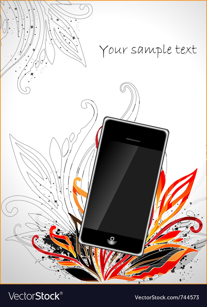 Phone floral vector | Price: 1 Credit (USD $1)