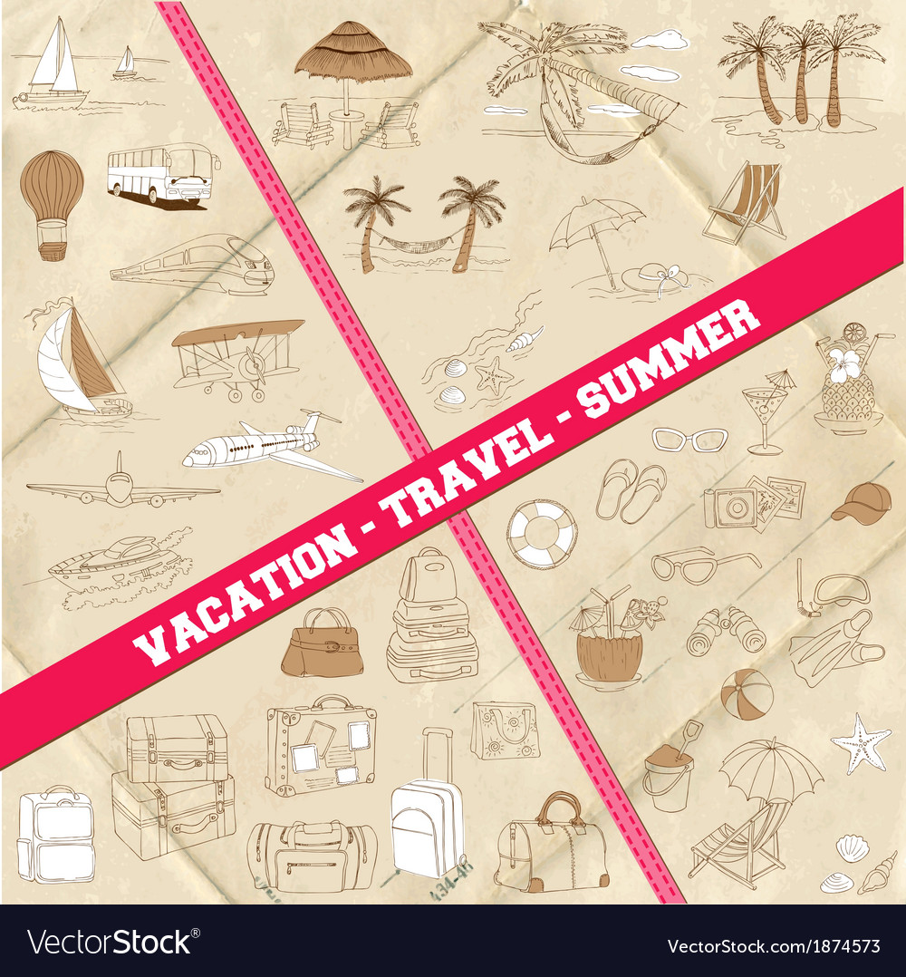 Set of travel summer and vacation theme vector | Price: 1 Credit (USD $1)