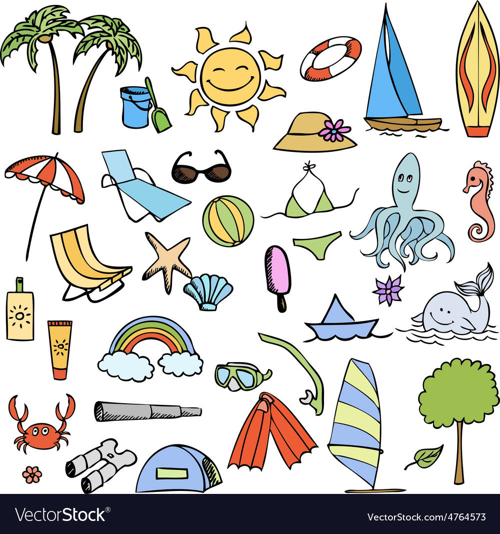 Vacation on sea color set vector   Price: 1 Credit (USD $1)