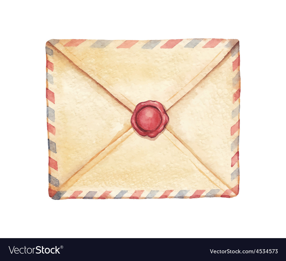 Watercolor envelope vector | Price: 1 Credit (USD $1)