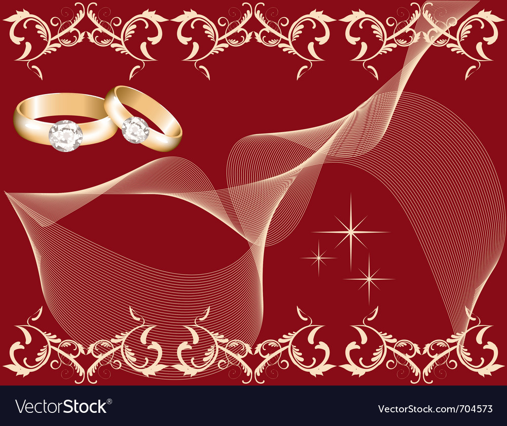 Wedding theme with golden rings vector | Price: 1 Credit (USD $1)