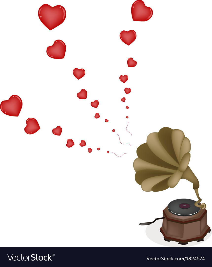 A beautiful vintage gramophone play romantic song vector | Price: 1 Credit (USD $1)