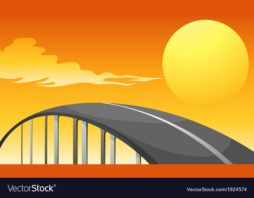 A winding road and a sunset vector | Price: 3 Credit (USD $3)