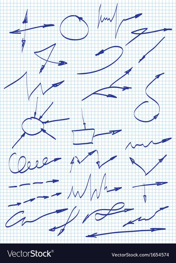 Arrows set hand drawn arrows set vector | Price: 1 Credit (USD $1)
