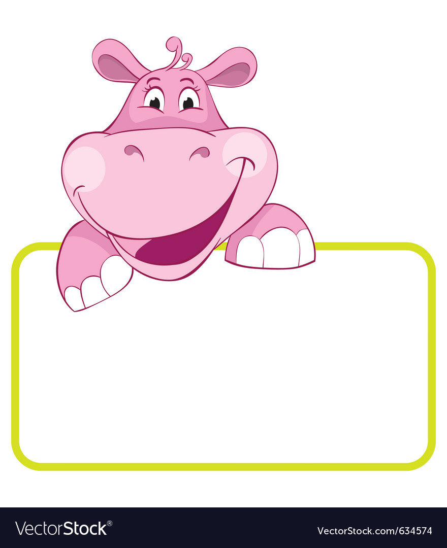 Baby hippo cartoon label vector | Price: 1 Credit (USD $1)