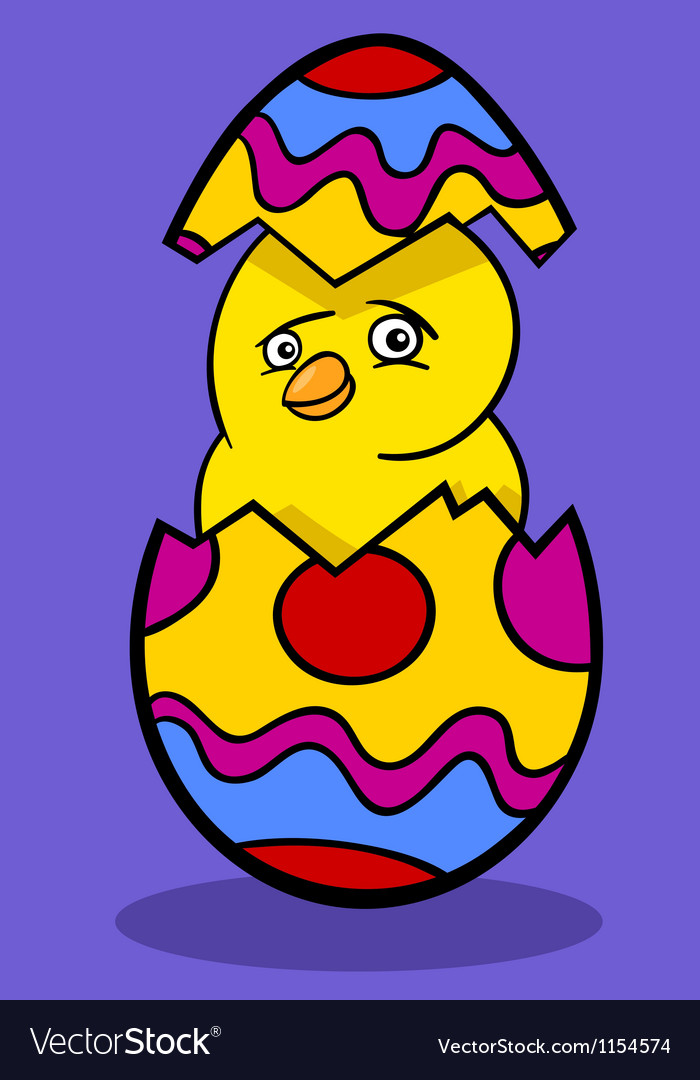 Chicken in easter egg cartoon vector | Price: 1 Credit (USD $1)