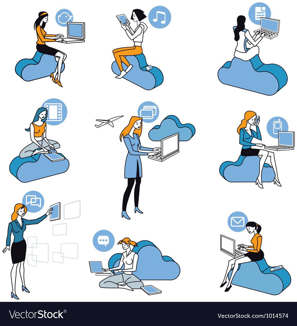 Cloud computing blue girls set vector